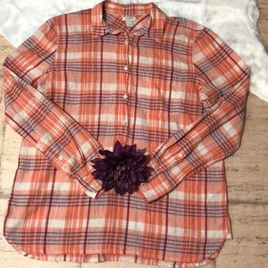 🎉J.Crew Plaid Long Sleeve Top🎉